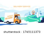 express delivery truck with man ...   Shutterstock .eps vector #1765111373