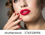 close up of red lips and... | Shutterstock . vector #176518496