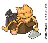 a cat sleeping in a paper box... | Shutterstock .eps vector #1765190546