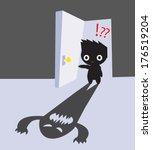 afraid,art,cute,door,eye,face,floor,funny,hand,handles,horror,illustration,kid,monster,open