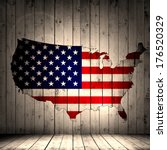 America Flag Map And Wood...
