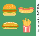 fast food colorful flat design... | Shutterstock .eps vector #176521034