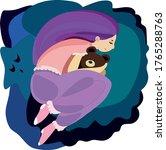 girl sleeping on soft blue... | Shutterstock .eps vector #1765288763