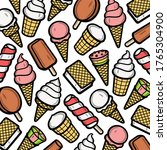 background ice cream set.... | Shutterstock .eps vector #1765304900