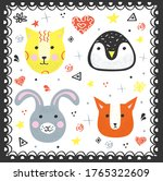 colorful set of cute doodle... | Shutterstock .eps vector #1765322609