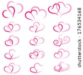 pink double heart collection... | Shutterstock . vector #176534168