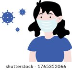 young girl in protective... | Shutterstock .eps vector #1765352066