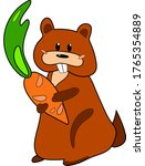 red badger stands and holds a... | Shutterstock .eps vector #1765354889