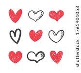 heart doodles set. collection... | Shutterstock .eps vector #1765401053