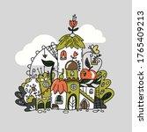 fantasy fairy house vector... | Shutterstock .eps vector #1765409213