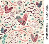 Cute Pattern With Flowers And...