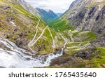 View of the famous Norwegian road Trollstingen high up in the mountains - stock photo
