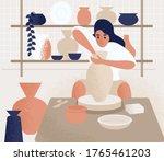focused woman making pot on...   Shutterstock .eps vector #1765461203