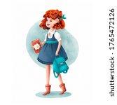 cartoon school girl character ... | Shutterstock . vector #1765472126
