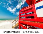 Red Lifeguard Tower In Siesta...