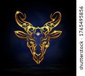 gold capricorn zodiac symbol...   Shutterstock .eps vector #1765495856