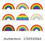 rainbow symbol. set of abstract ... | Shutterstock .eps vector #1765535063