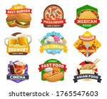 fast food icons  burgers menu ... | Shutterstock .eps vector #1765547603