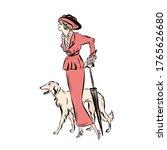 Elegant Woman In Vintage Style...