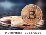 photo golden bitcoins  new...