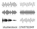 set of sound waves. analog and... | Shutterstock .eps vector #1765732349