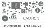 caution icon set. 11 filled... | Shutterstock .eps vector #1765736729
