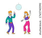 male and female characters...   Shutterstock .eps vector #1765740590