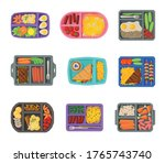 meal trays filled with food for ... | Shutterstock .eps vector #1765743740