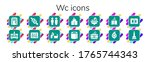 wc icon set. 14 filled wc icons.... | Shutterstock .eps vector #1765744343