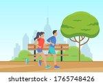 men and women running in the... | Shutterstock .eps vector #1765748426