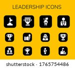leadership icon set. 12 filled...
