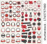 collection of flat shields... | Shutterstock . vector #1765757480