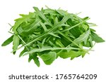 Small photo of Arugula, rocket, eruca, rucola, isolated on white background, clipping path, full depth of field