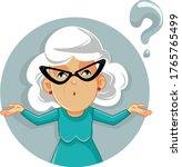 funny granny shrugging vector... | Shutterstock .eps vector #1765765499