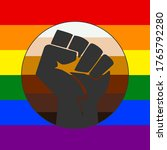 fist sign on rainbow background....