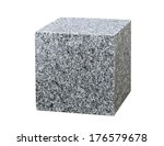 Granite Cube Isolated On White...