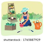 gardener transplants plants and ... | Shutterstock .eps vector #1765887929
