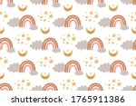 kids boho rainbow pattern...   Shutterstock .eps vector #1765911386
