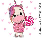 cute cartoon unicorn in coat... | Shutterstock .eps vector #1765913450