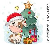 Cute Cartoon Bull Is Near The...
