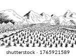 Rice Field Graphic Black White...