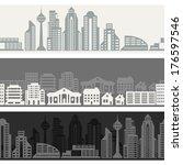 cityscape seamless horizontal... | Shutterstock .eps vector #176597546