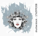 fashion woman. hand painted... | Shutterstock . vector #176599208