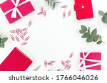 Red notebook  gift box  pen and ...