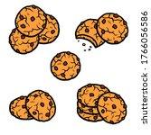chocolate chip cookies set.... | Shutterstock .eps vector #1766056586