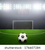green football ground against...   Shutterstock . vector #176607284