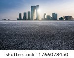 Empty asphalt road with modern urban buildings in suzhou new district, jiangsu