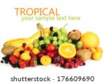 fresh fruits and berries... | Shutterstock . vector #176609690