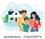 family with children and a cute ...   Shutterstock .eps vector #1766104976