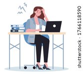 exhausted business woman in the ... | Shutterstock .eps vector #1766118590